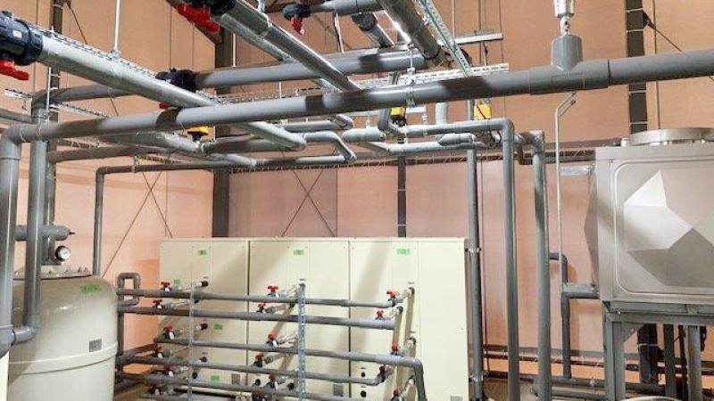熱源タンク、熱交配管、逆洗ろ過機完成